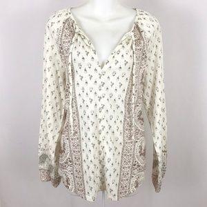 Lucky Brand knit long sleeve peasant top tee boho